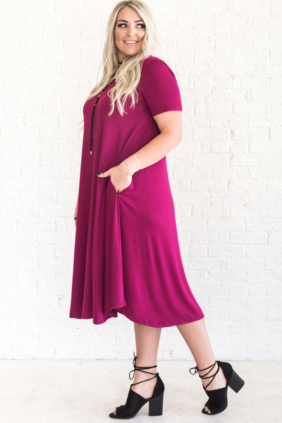 Fuchsia Wine Pink Magenta Cute Plus Size Midi Dresses with Pockets