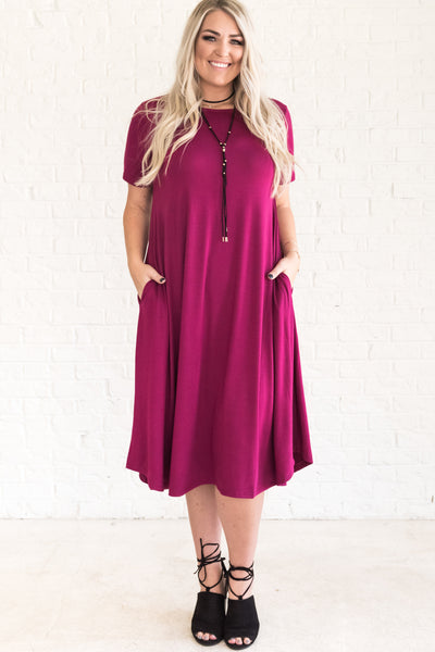 Fuchsia Wine Pink Plus Size Midi Dresses with Pockets