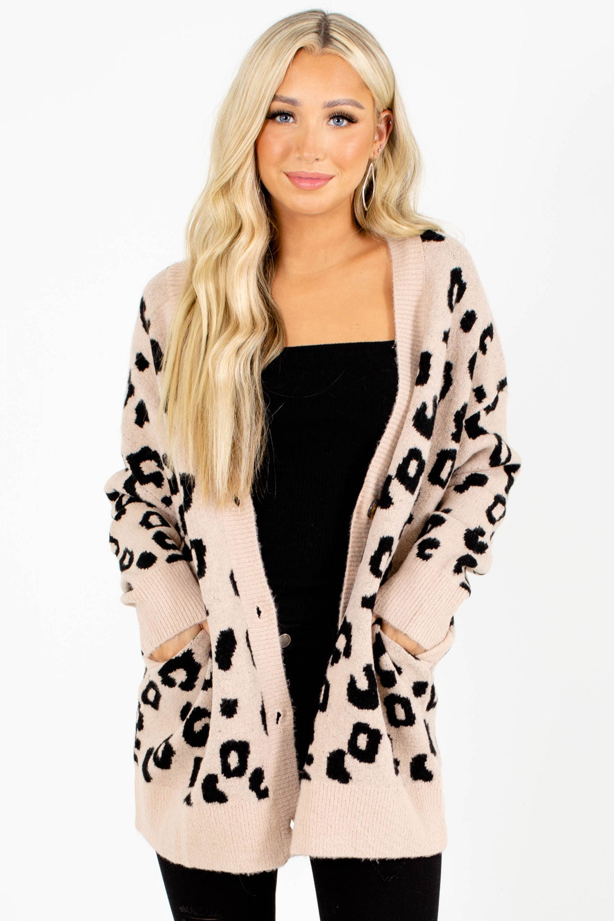 Brown and Black Leopard Print Patterned Boutique Cardigans for Women