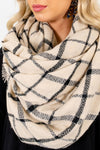 Women's Beige Fringed Detailed Boutique Scarf