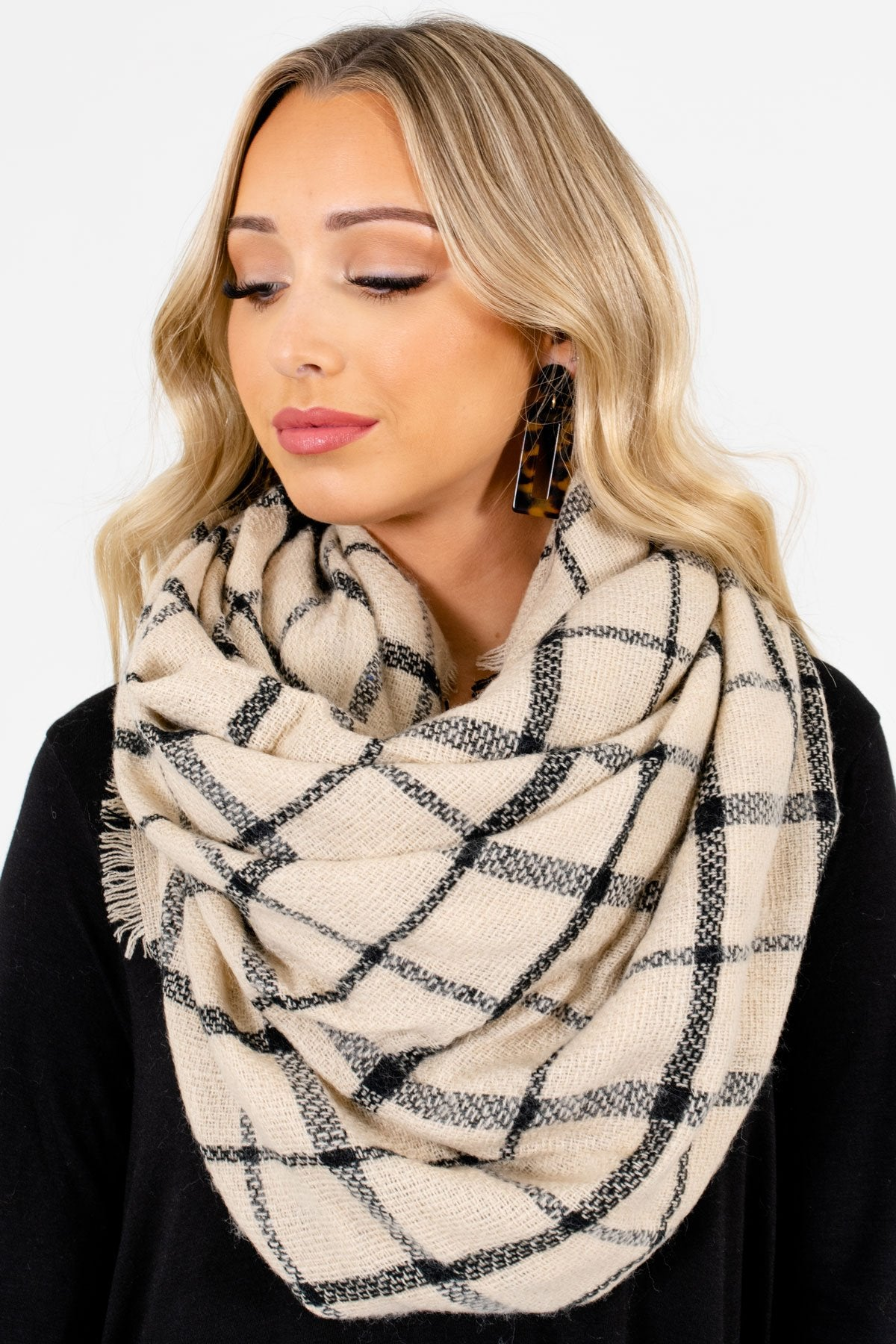 Beige and Black Plaid Patterned Boutique Scarves for Women