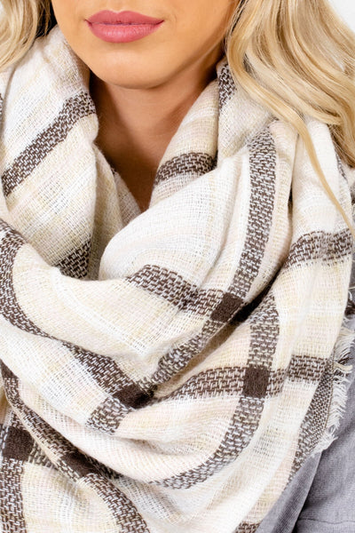 Women's Cream Fringed Detailed Boutique Scarf