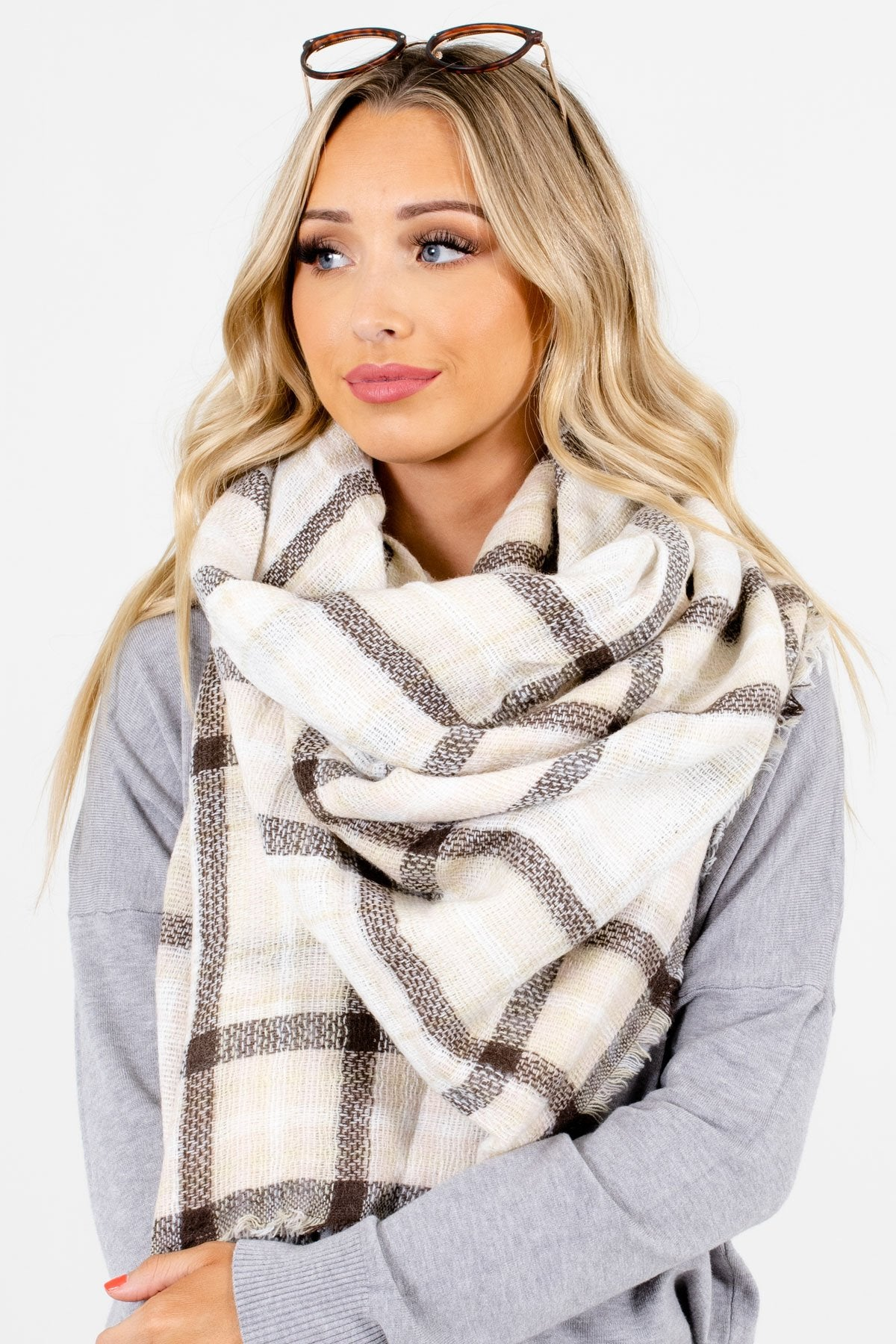 Cream Plaid Patterned Boutique Scarves for Women