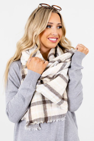 Women's Cream Cute and Comfortable Boutique Scarf
