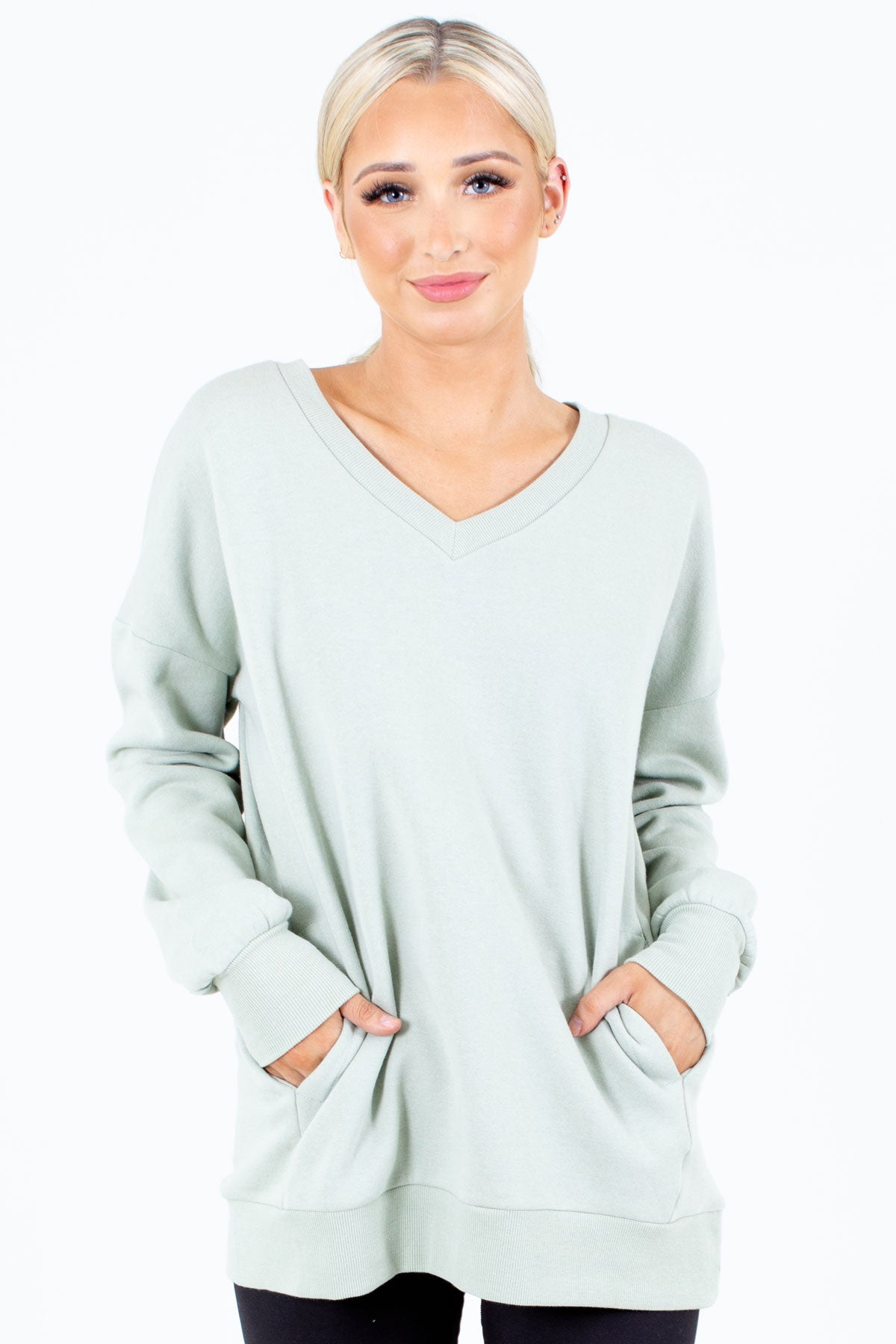 Sage Green V-Neckline Boutique Pullovers for Women