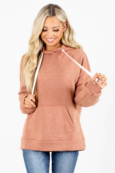 Salmon Drawstring Hood Boutique Hoodies for Women