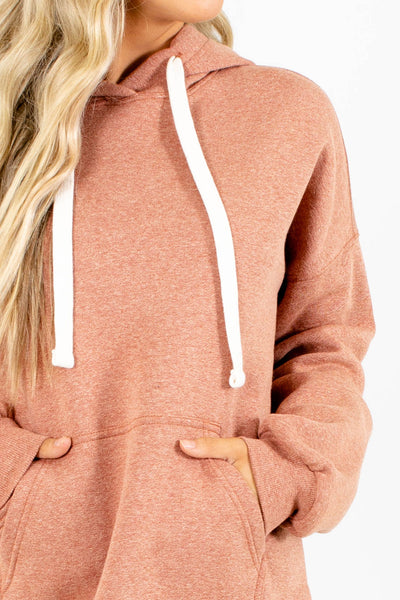 Women's Salmon Front Pocket Boutique Hoodie