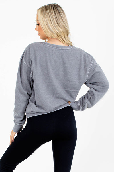 Gray Relaxed Fit Boutique Pullovers for Women