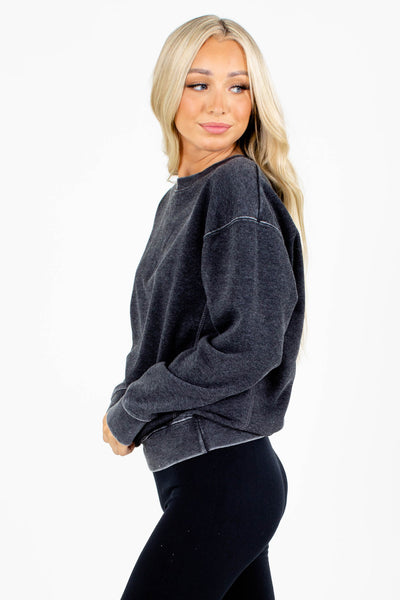 Women's Charcoal Gray Round Neckline Boutique Pullover