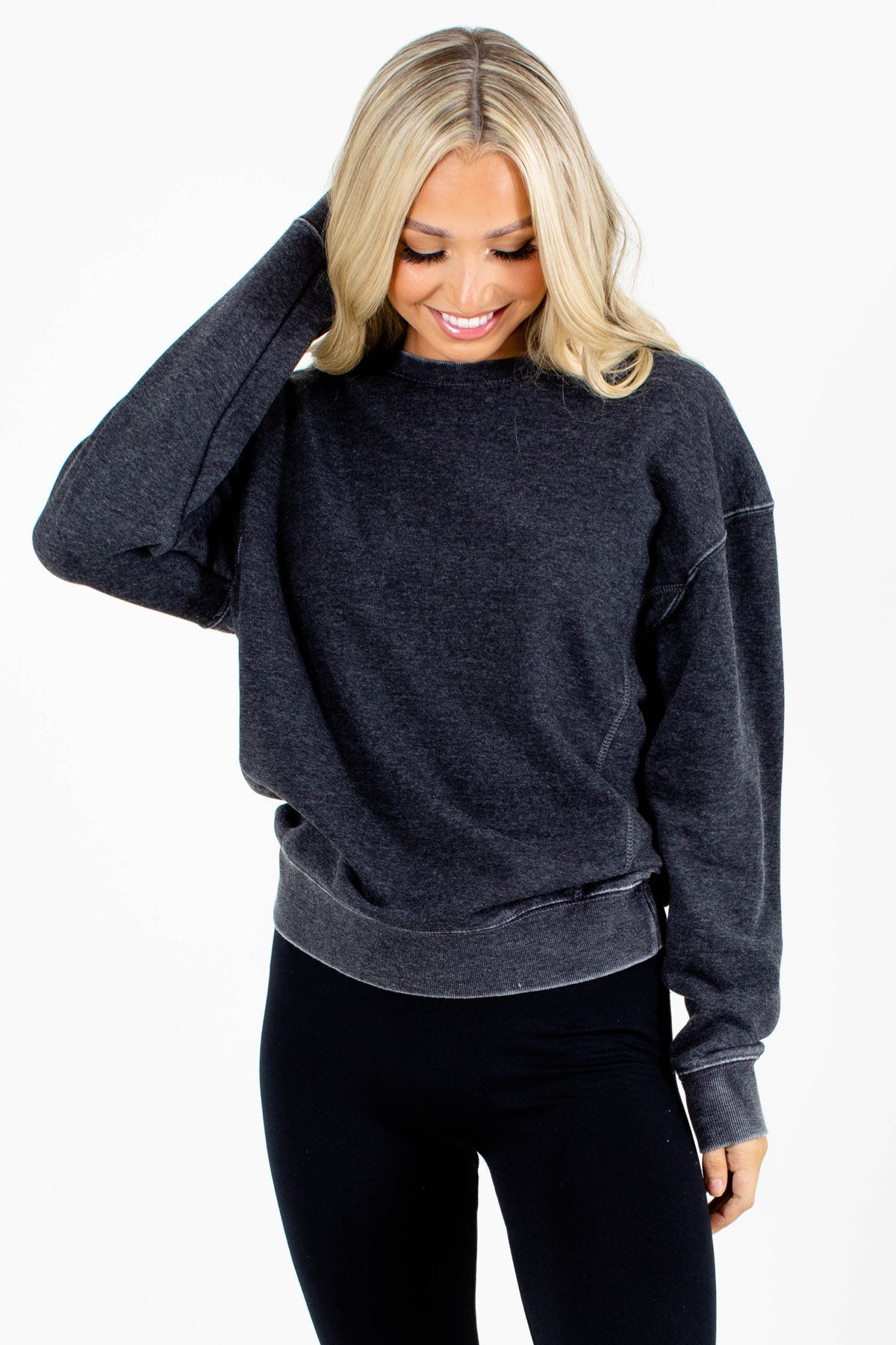 Charcoal Gray Fleece-Lined Boutique Pullovers for Women