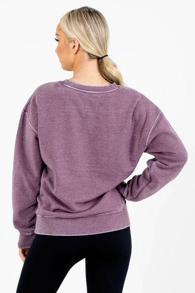 Women's Purple Casual Everyday Boutique Pullover