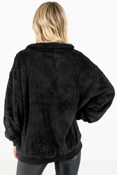 Women's Black Zip-Up Neckline Boutique Pullover
