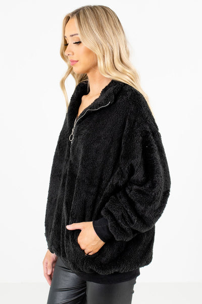Black Oversized Relaxed Fit Boutique Pullovers for Women