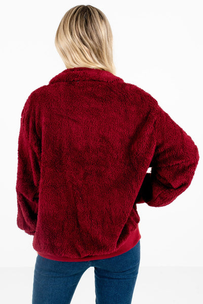 Women's Burgundy Zip-Up Neckline Boutique Pullover