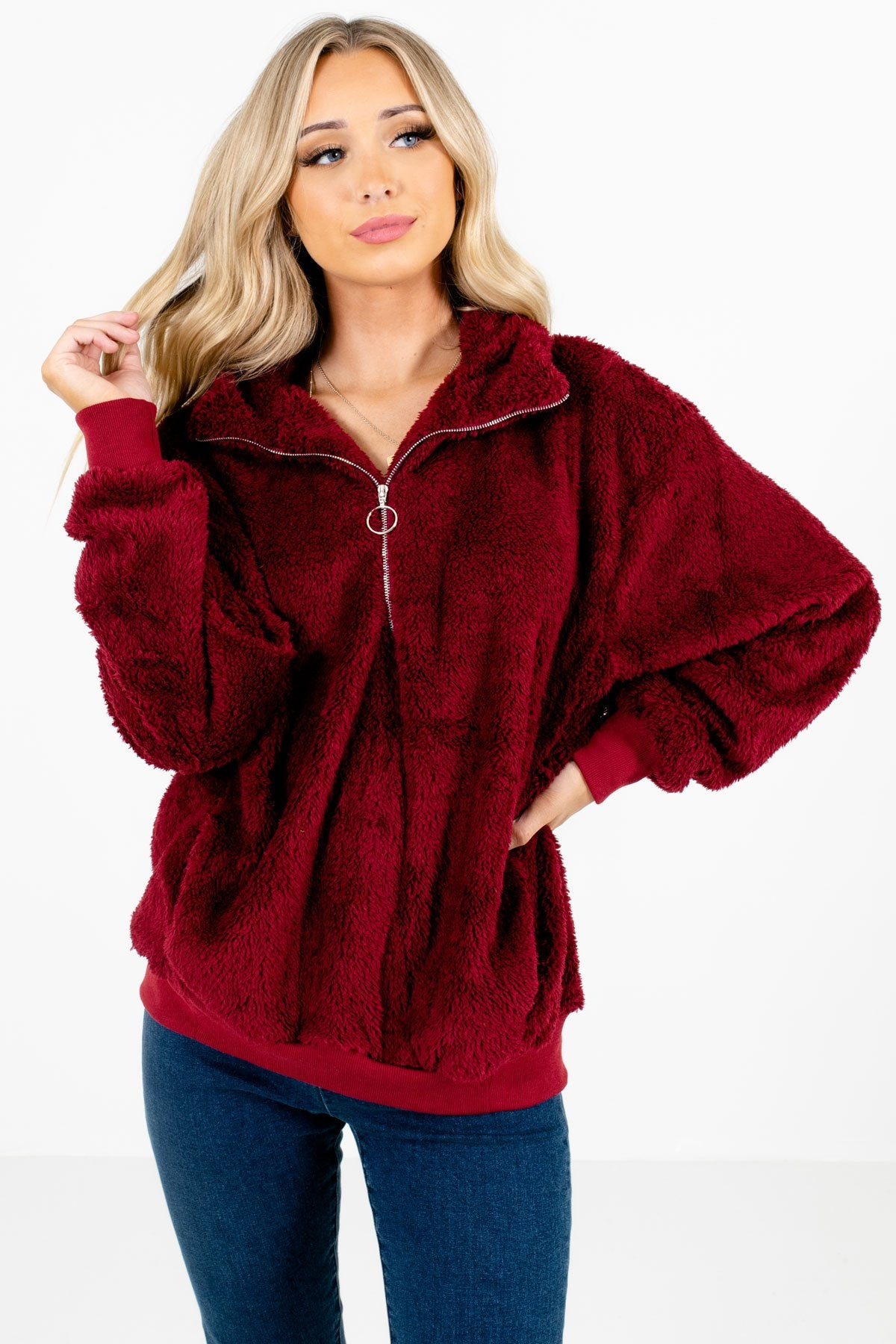 Burgundy High-Quality Fuzzy Material Boutique Pullovers for Women