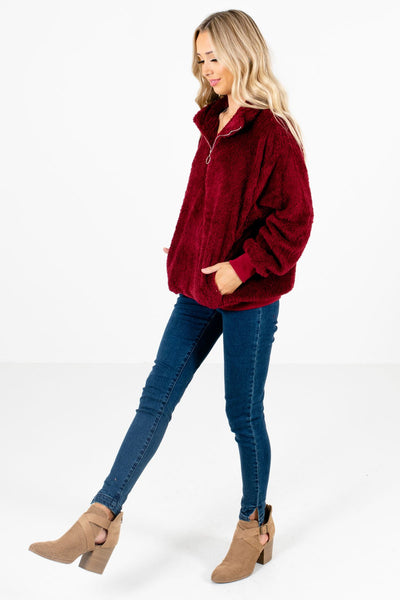 Burgundy Cute and Comfortable Boutique Pullovers for Women