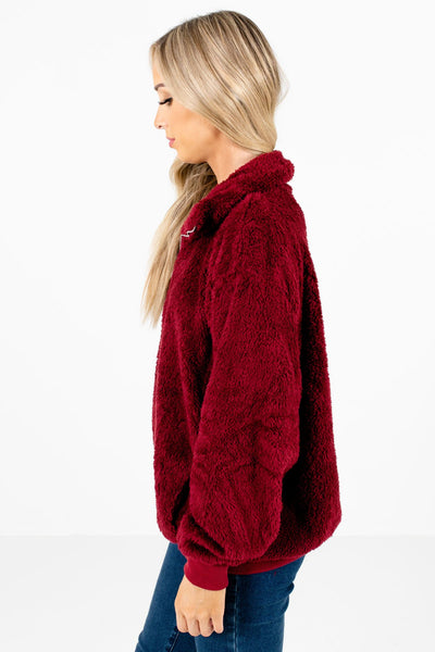Burgundy Oversized Relaxed Fit Boutique Pullovers for Women