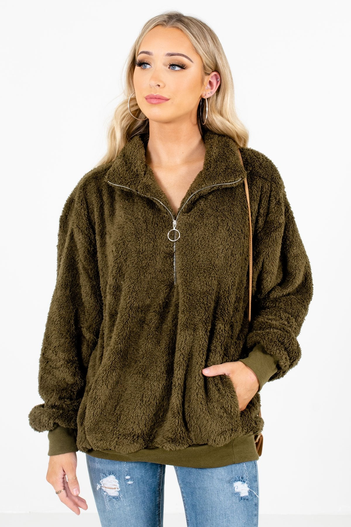 Olive Green High-Quality Fuzzy Material Boutique Pullovers for Women