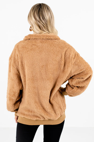 Women's Tan Brown Zip-Up Neckline Boutique Pullover