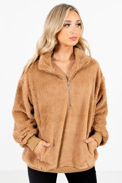 Women's Tan Brown Long Sleeve Boutique Pullover