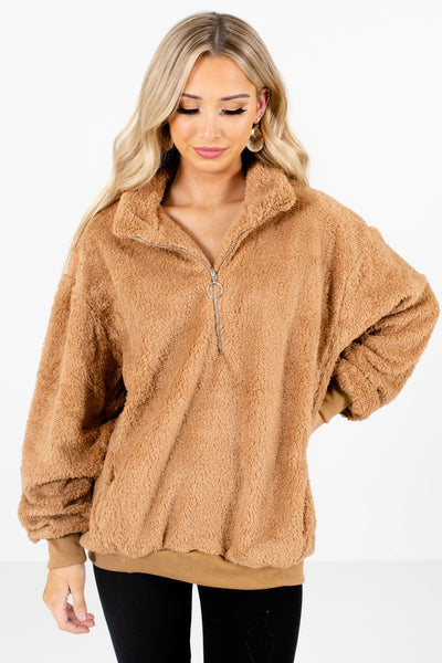 Tan Brown Cute and Comfortable Boutique Pullovers for Women