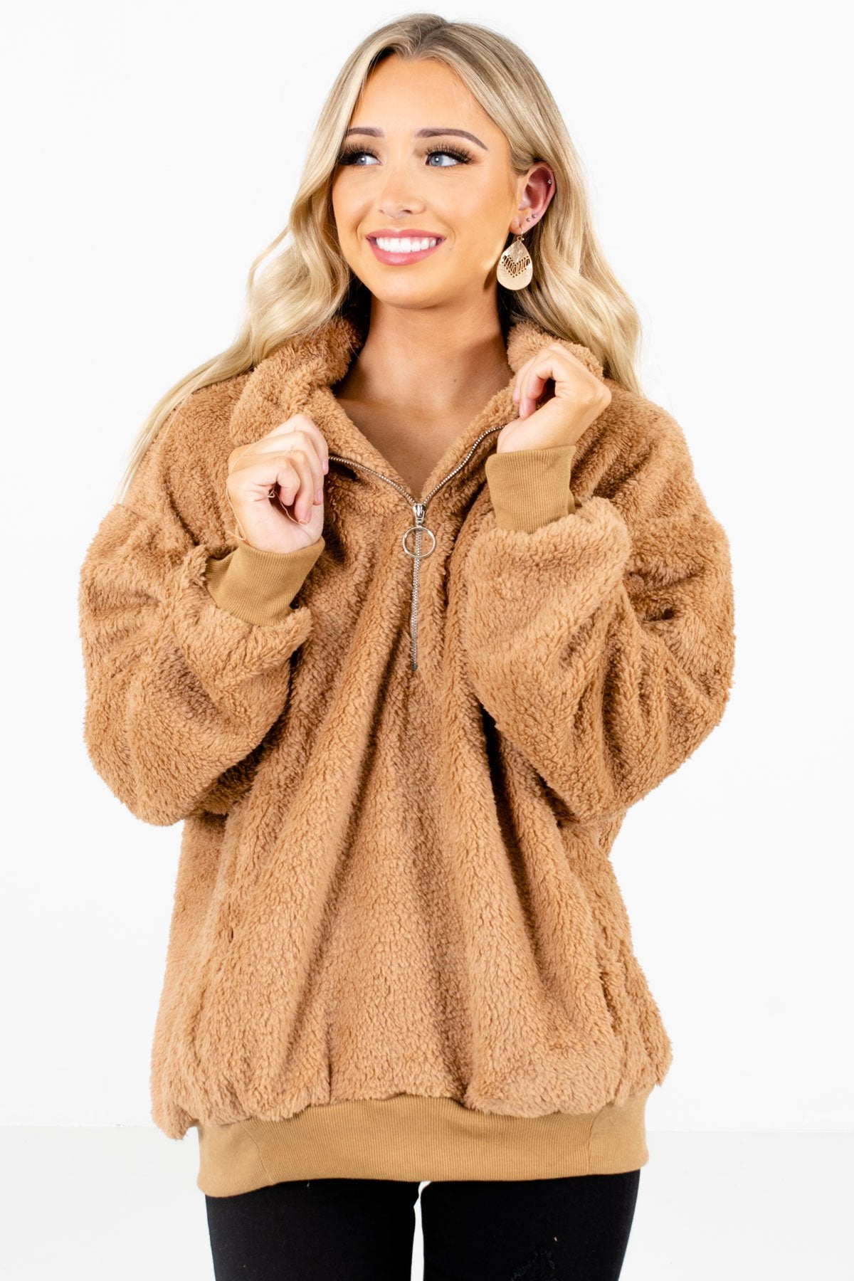 Tan Brown High-Quality Fuzzy Material Boutique Pullovers for Women
