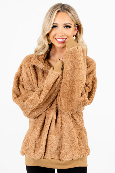 Women's Tan Brown Warm and Cozy Boutique Clothing