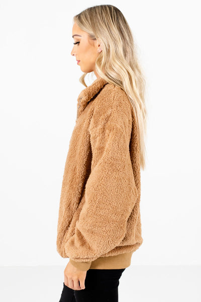 Tan Brown Oversized Relaxed Fit Boutique Pullovers for Women