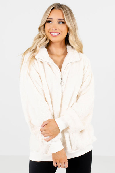 Women's White Long Sleeve Boutique Pullover