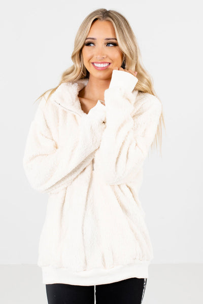 Women's White Warm and Cozy Boutique Clothing