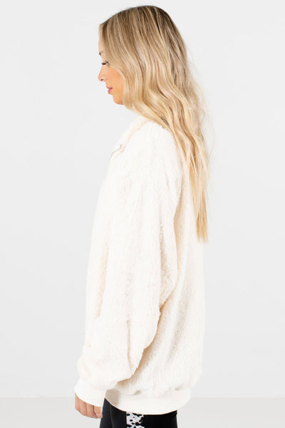 White Oversized Relaxed Fit Boutique Pullovers for Women