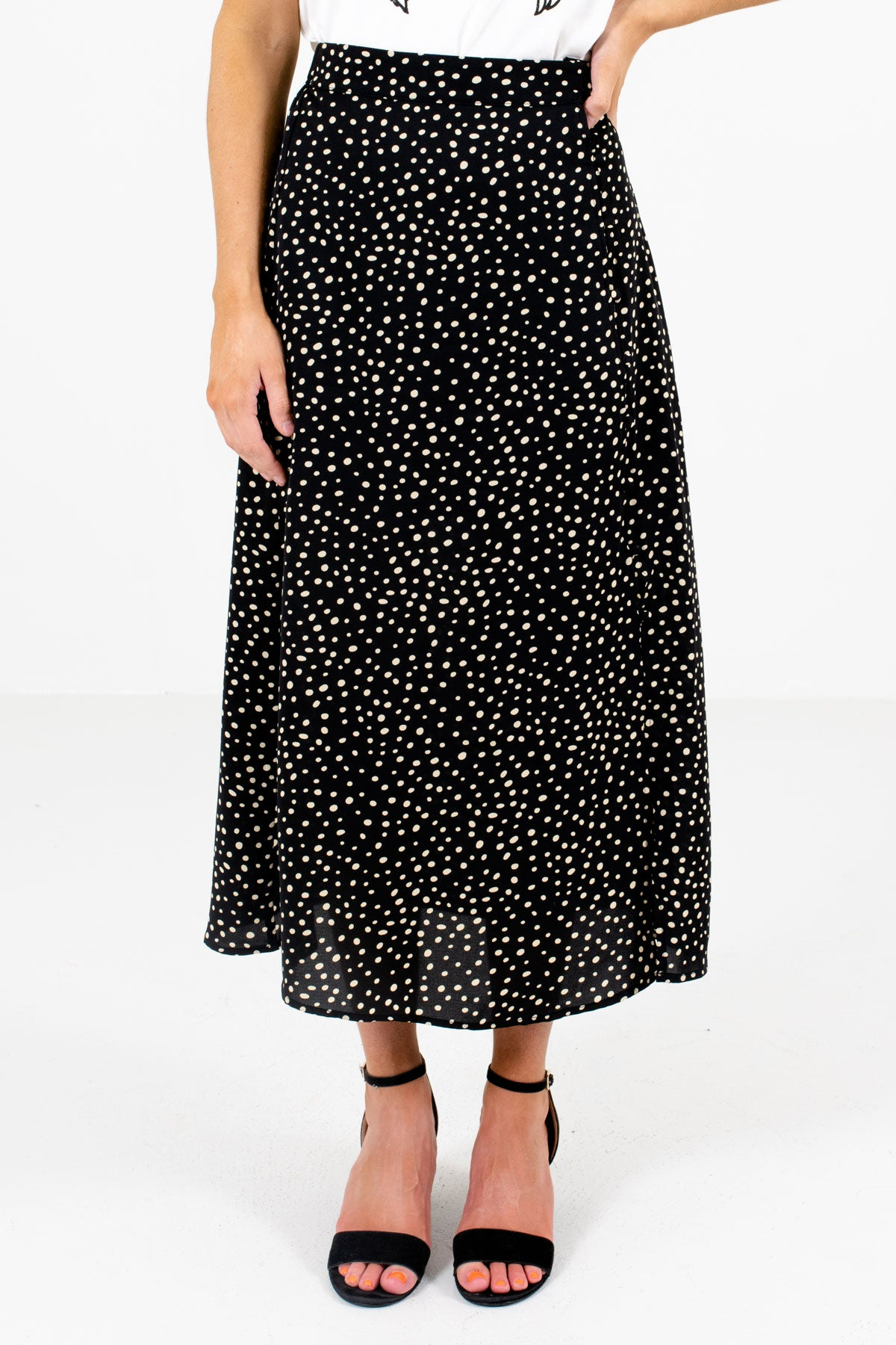 Black and Beige Polka Dot Patterned Boutique Midi Skirts for Women