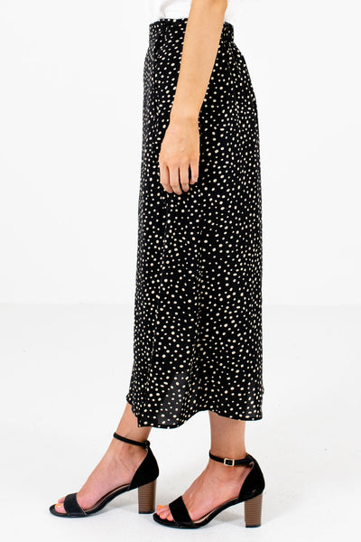 Black Button-Up Side Boutique Midi Skirts for Women
