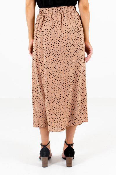 Women's Tan Brown Elastic Waistband Boutique Midi Skirt