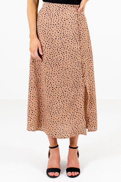 Tan Brown and Black Polka Dot Patterned Boutique Midi Skirts for Women
