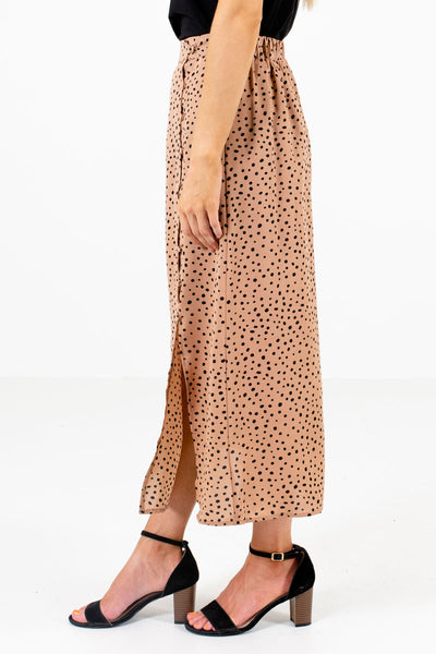 Tan Brown Button-Up Side Boutique Midi Skirts for Women