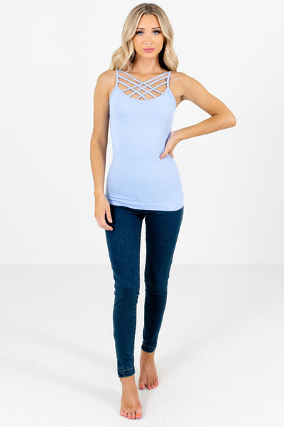Light Blue Cute and Comfortable Boutique Tank Tops for Women