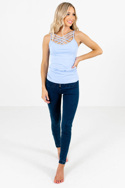 Women's Light Blue Casual Everyday Boutique Tank Top