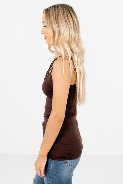 Brown High-Quality Stretchy Material Boutique Tank Tops for Women