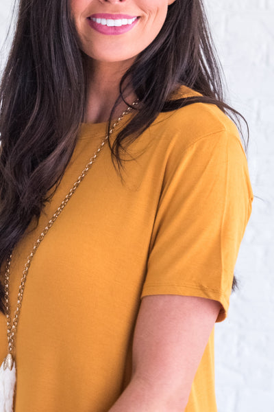 Mustard Yellow Flowy, High-Quality Tops for Women