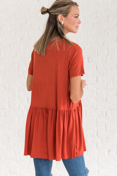 Rust Orange Cute Flowy Flattering Tops for Women