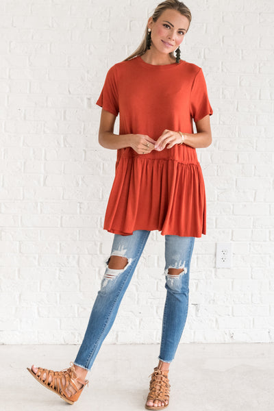 Rust Orange Lightweight Ruffle Women's Tops