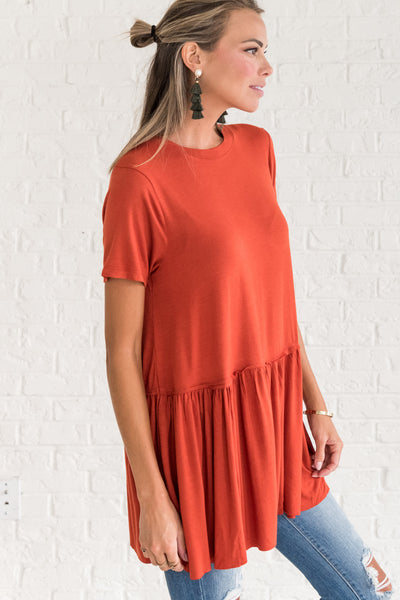 Rust Orange Peplum Tops for Women