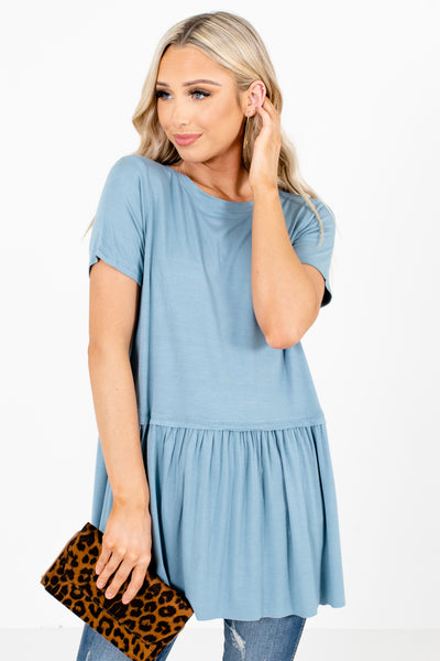 Blue High-Quality Material Boutique Tops for Women