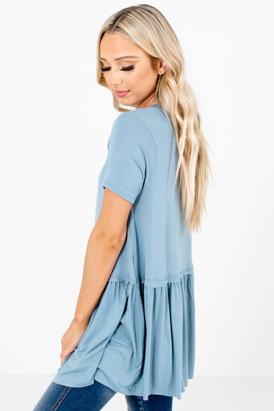Women's Blue Short Sleeve Boutique Tops