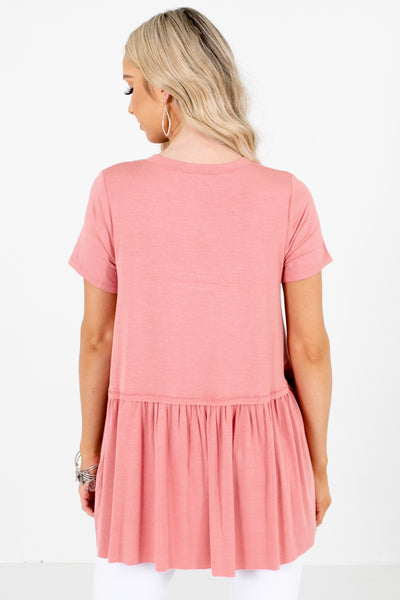 Women's Pink Round Neckline Boutique Tops