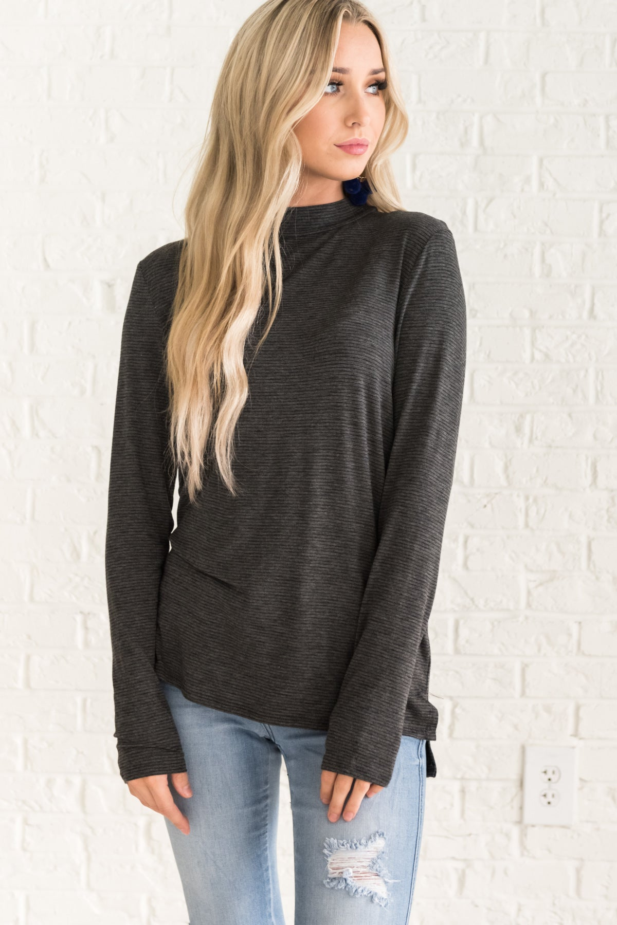 Gray Long Sleeve Striped Tops for Women