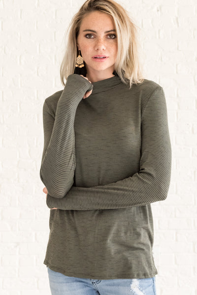 Olive Green Striped Long Sleeve Tops for Women
