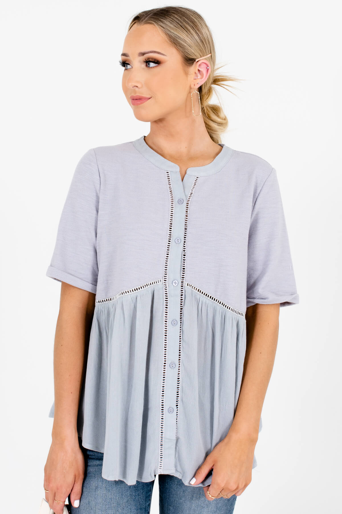 Blue Gray Cute Button-Up Tops Affordable Online Boutique