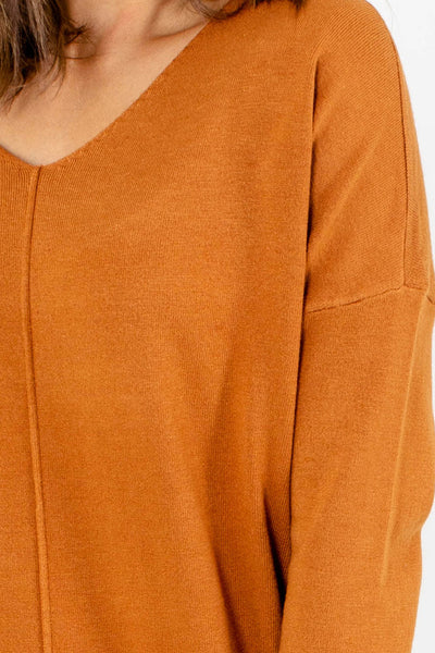 Women's Orange Subtle High-Low Hem Boutique Sweater